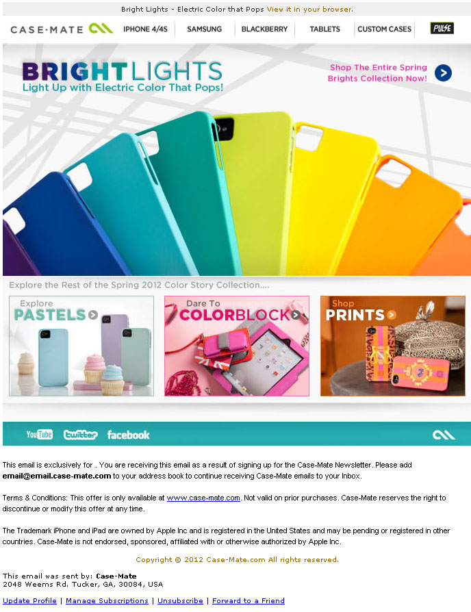 detailed look 825eb 147e0 Email marketing design winner: Case-Mate's Brights collection ...