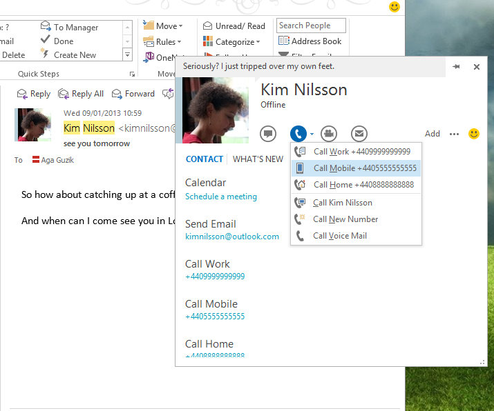 Skype for Windows updates with Outlook integration