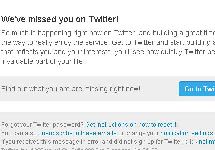 Twitter reactivation campaign: they missed me!