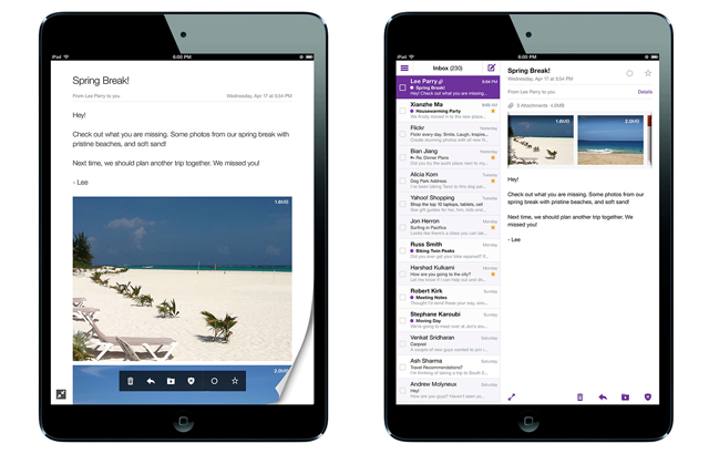 Yahoo! Mail app on iPad Mini