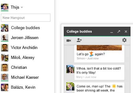 Hangouts now available in Gmail, seamless experience