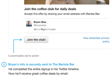 Lead Generation Card from Twitter: from tweet to email signup