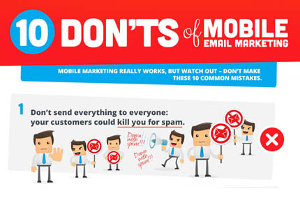 Mobile email marketing infographic -10 don'ts