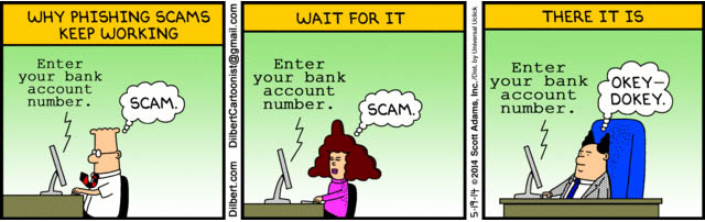 gmail phishing alert - dilbert comic