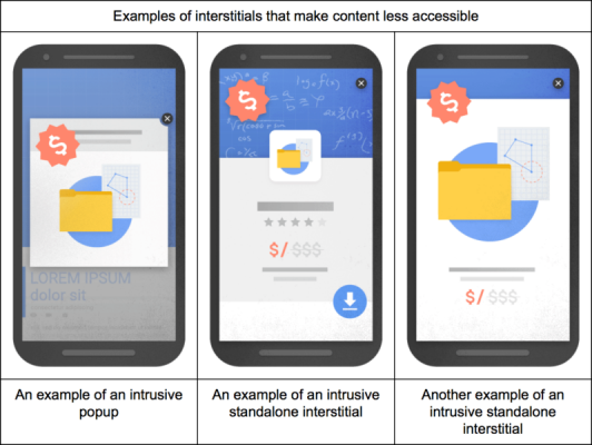 Google popup crackdown on mobile webpages